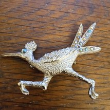 LARGE VINTAGE TURQUOISE ROADRUNNER BIRD BROOCH PIN - $29.79