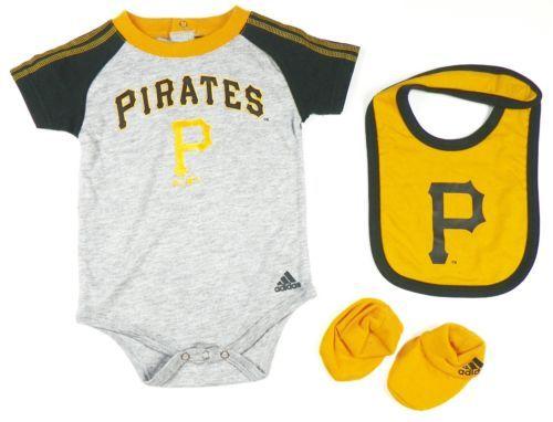 Infant Pittsburgh Pirates Creeper Set adidas Baby Bodysuit Bib Booties Baseball