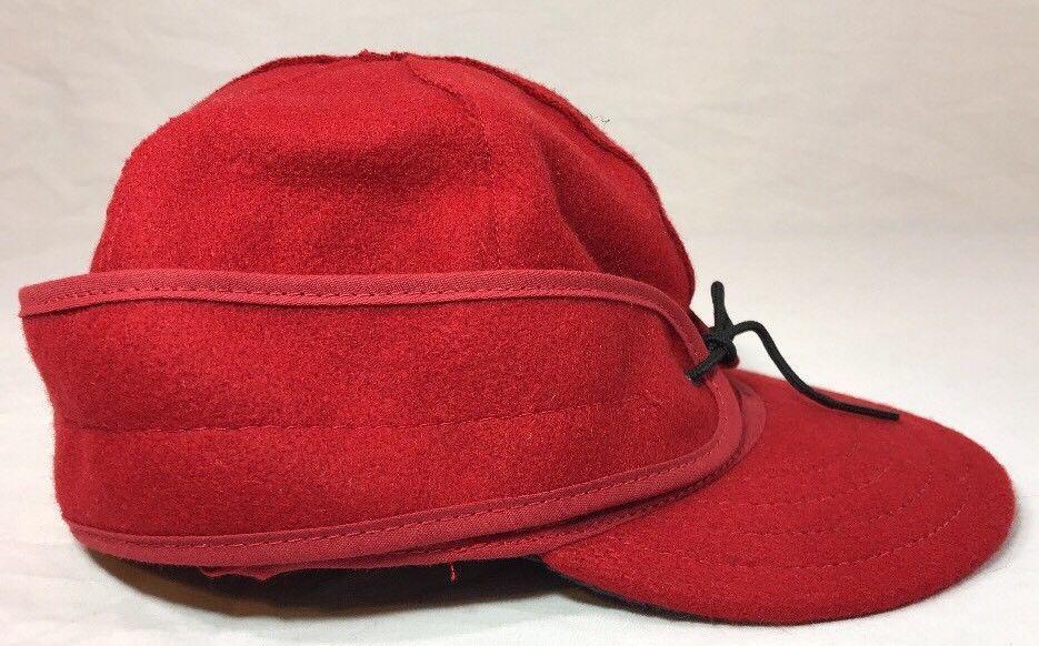 Stormy Kromer Cap Red Black Sz Wool Made in USA Hat Baseball Engineer 6 7/8 image 6