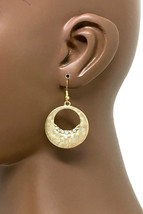 "2"" Long Classical Antique Gold Tone Hoop Earrings, Clear Rhinestones Pierced Ear - $10.40"