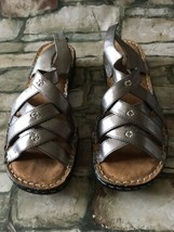 Natural Soul By Naturalizer Pewter Craft Sandals Womens 8M Comfort - Leather - $19.79