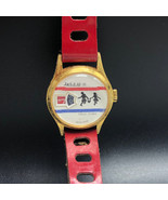 JACK AND JILL WRISTWATCH TELL TIME 1970s swiss made vintage retro red ba... - $94.05