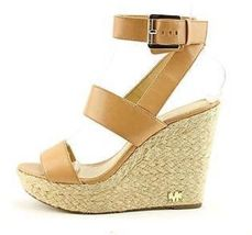 new michael kors posey ankle strap espadrille wedge sandal size 9 suntan... - $90.00