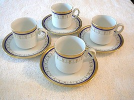 Vintage Bavaria Tirschenreuth Germany Gold Set of 4 Demitasse Cups & Saucers - $28.04