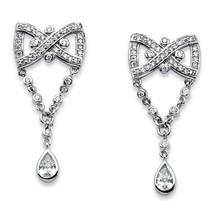 PalmBeach Jewelry 1.59 TCW Cubic Zirconia Bow Tie Platinum-Plated Earrings - $19.49