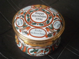 HALCYON DAYS ENAMELS CHRISTMAS 1996 PILL BOX PORTA PILLOLE IN CERAMICA O... - $32.81