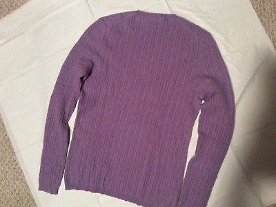 Womens M L ANNE KLEIN SPORT Lavender 100% Cashmere cable Knit Crew Sweater