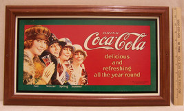 Vintage Coca Cola Framed Print 1920s Design Drink Coke All Year 'Round S... - $19.79