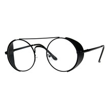Steampunk Side Cover Clear Lens Glasses Round Metal Flat Top Bridge UV 400 - $12.95