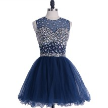A-line Round Brought Short Homecoming Dress Tulle Open Back Crystal Prom... - $128.00