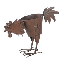 Metal Planter Outdoor, Small Garden Rustic Pecking Rooster Wrought Iron ... - $26.72