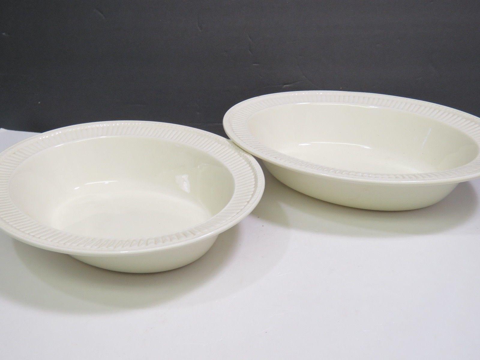 "2 Wedgwood Edme Creamware Oval Vegetable Serving Bowls 10.75"""