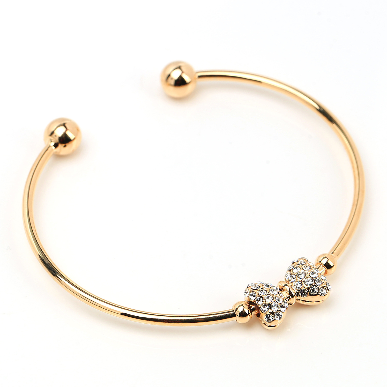 UE- Trendy Gold Tone Designer Bangle Bracelet With Swarovski Style Crystal Bow