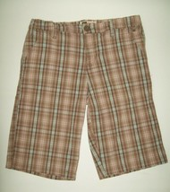 Faded Glory Girls Shorts Size 14 Brown Pink Plaid Long Leg Spring Summer... - $14.84