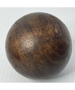 Brown Heavy Wooden Round Bocce Solid Wood Ball Vintage Games Boules - $29.65