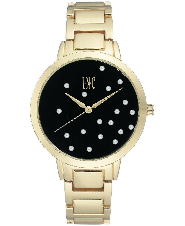 I.N.C. Women's Gold-Tone Bracelet Black w Pearl Accents Dial 36mm Quartz Watch