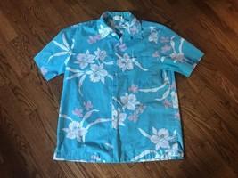 Vintage Howie Hawaiian Blue Shirt Men's Flowers Made in Hawaii Size Large - $32.71