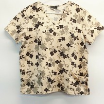 Cherokee V Neck Scrub Top 4 Leaf Clover Black Tan Large Cotton - $16.78