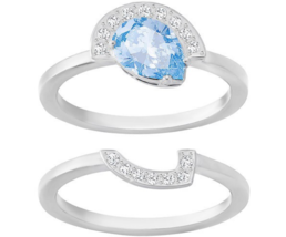 Swarovski Crystal GALLERY Blue Pear Ring Fitted 2-Piece Set Silver 55/M/... - $98.01