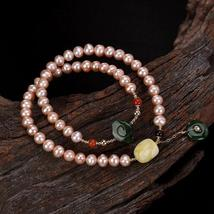Natural Healing Pink Pearls Bracelet 2 Layers Amber Jasper Charms - $103.95