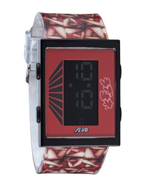 Yonehara Yasumasa X Flud Rojo Digital LCD Cartucho Reloj Mujer Patas Nuevo Caja