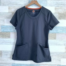 Dickies Scrub Top Gray Scoop Neck 2 Pocket Poly Stretch Womens Medium - $10.88