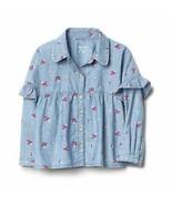 Gap Kids Girls Shirt 12 Denim Chambray Ruffled Floral Blue Long Sleeve B... - $24.70