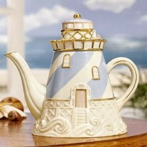 NEW IN THE BOX LENOX CHINA SEASIDE LIGHTHOUSE TEAPOT 24K GOLD TRIM  - $89.09
