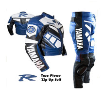 YAMAHA R BLUE MOTORBIKE MOTORCYCLE BIKERS 2 PIECE COWHIDE LEATHER ARMOUR... - $339.99