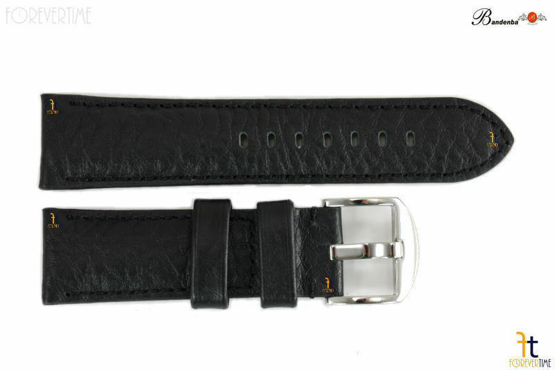 Primary image for Bandenba 22mm Genuine Black Textured Leather Hamilton Stitched Watch Band Strap