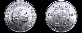 1960 Netherlands 25 Cent World Coin - $7.99