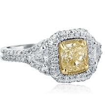1.90 TCW Yellow Cushion Cut Trillion Side Diamond Engagement Ring 18k White Gold - $3,662.01