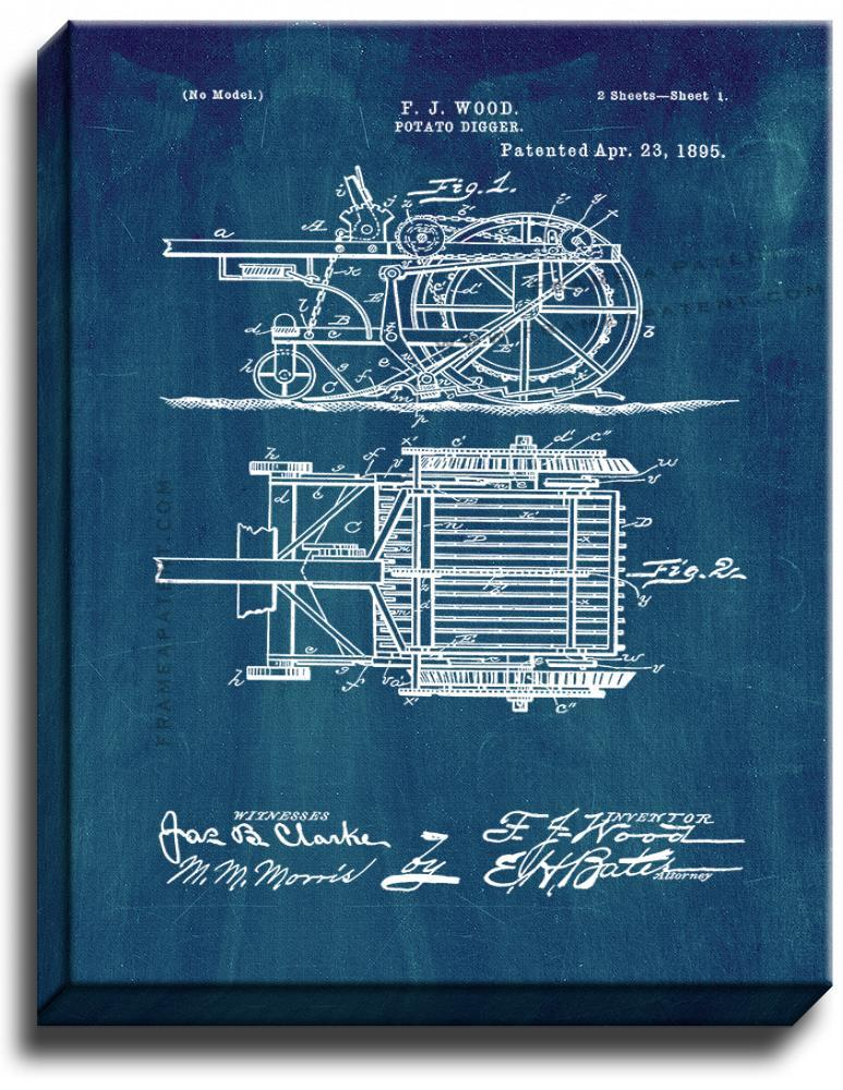 Primary image for Potato Digger Patent Print Midnight Blue on Canvas