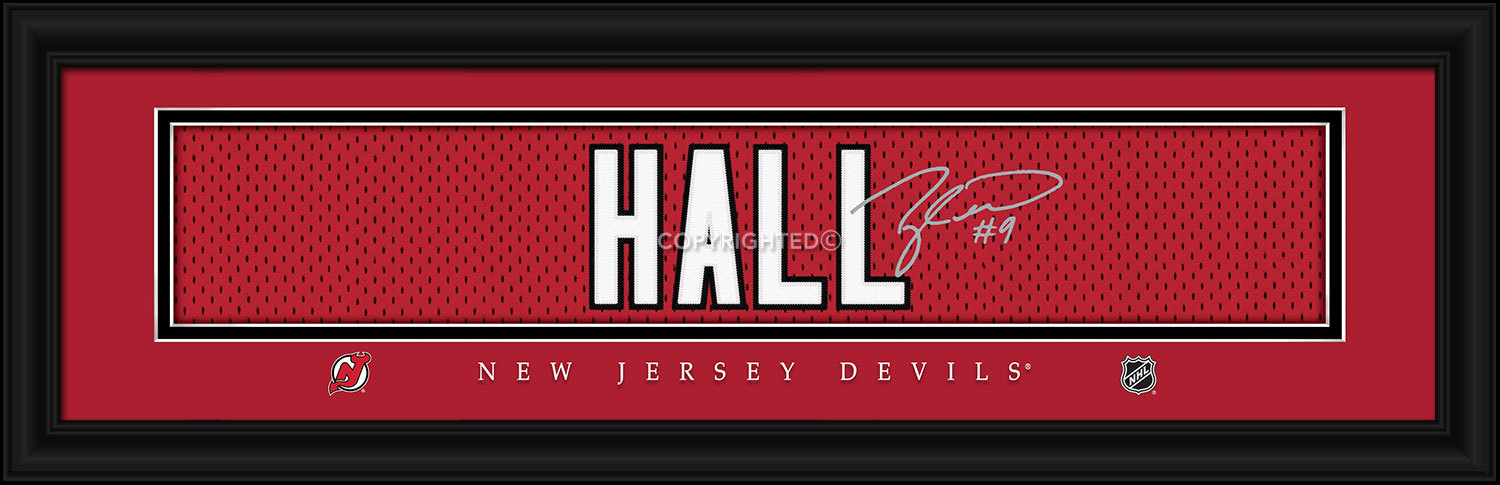 Taylor Hall New Jersey Devils Player Signature Stitched Jersey Framed Print