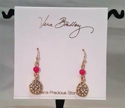 VERA BRADLEY SEMI PRECIOUS GOLD TONE PINK DROP EARRINGS  - $14.00