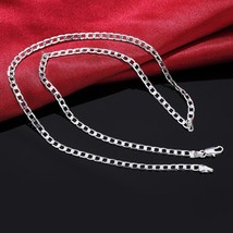 16-30INCHES Free shipping Beautiful fashion Elegant silver color CUTE 4MM chain  - $9.44