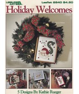 Holiday Welcomes Cross Stitch Pattern Booklet LA 2640 Christmas Hallowee... - $4.95
