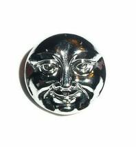 Beautiful Silver Colored Czech Glass Shank Moon Face Button 18mm - Shiny... - $6.43