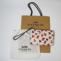 Coach Wristlet Off White Blue Pink Flowers NWT Dust And Gift Bag - $60.00