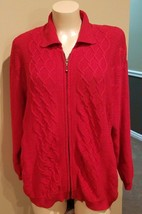 Elisabeth by Liz Claiborne Red Collared Cardigan Sweater for Women, Size 3P - $12.19