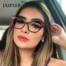JASPEER  Retro Cat Eye Glasses Frame Women Brand Designer Vintage Eye Glasses Fr image 2