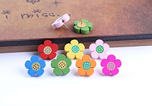 50Pieces Lovely Flower Wooden Push Pins Decorative Board Tacks Utility Icons