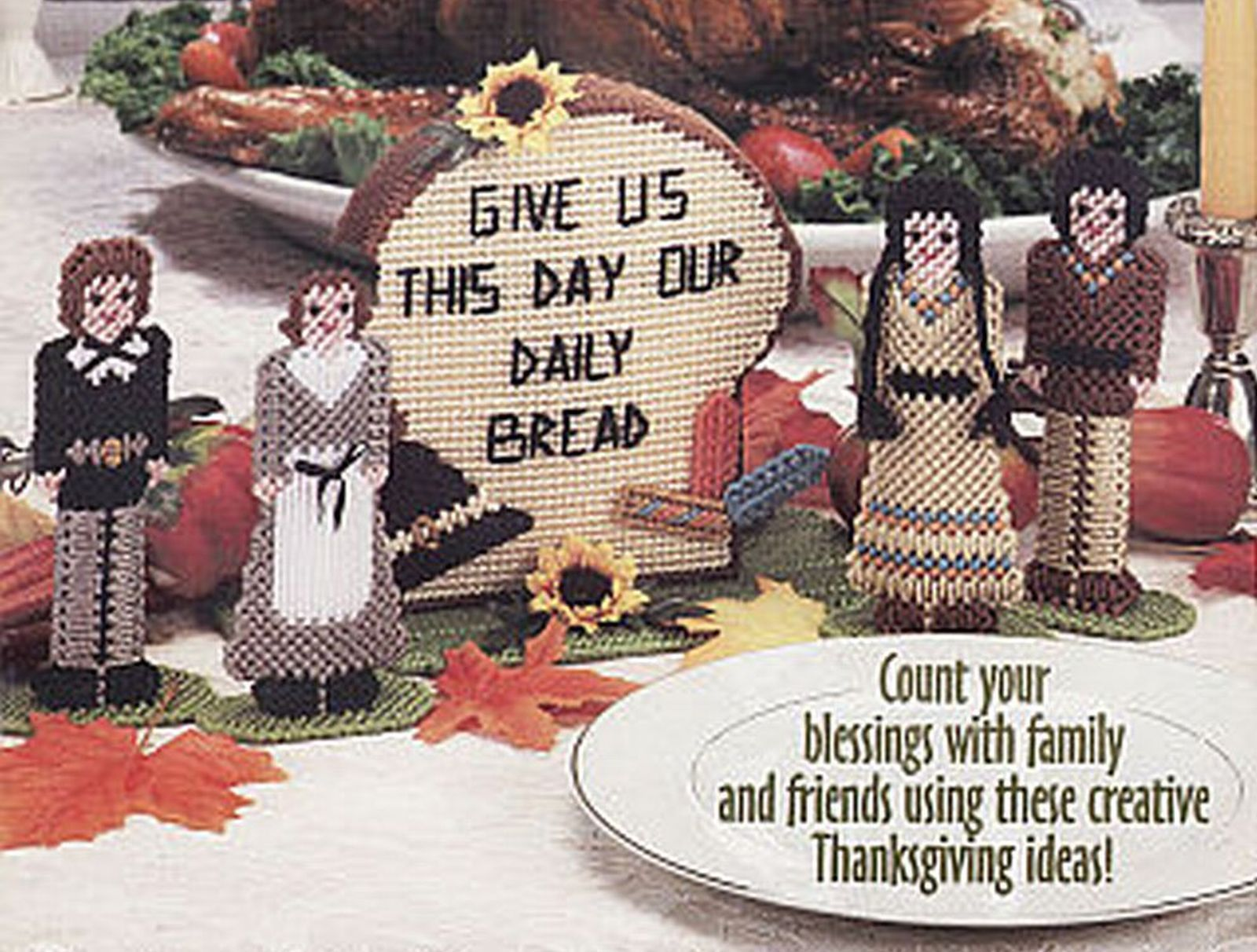 Primary image for Plastic Canvas Thanksgiving Bread Basket Centerpiece Pilgrim Indian Patterns