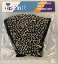 3 Ply Adult Face Mask with Adjustable Ear Loops - Leopard Print - Fast F... - $6.95