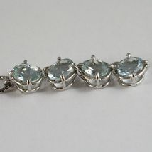 18K WHITE GOLD NECKLACE, OVAL CUT 4 AQUAMARINE PENDANT WITH VENETIAN CHAIN image 4