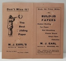 READING PA, M.J. EARLS Paper, Advertising Building Papers 525 Penn St. E... - $14.95