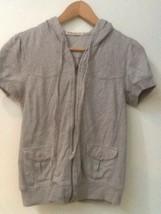 FOREVER Gray Short Sleeve Hooded Full Zip Sweatshirt XS - $13.95