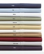 Ralph Lauren Prescott Full Sheet Set 500T Supima Cotton Sateen Sky Blue NEW - $187.11