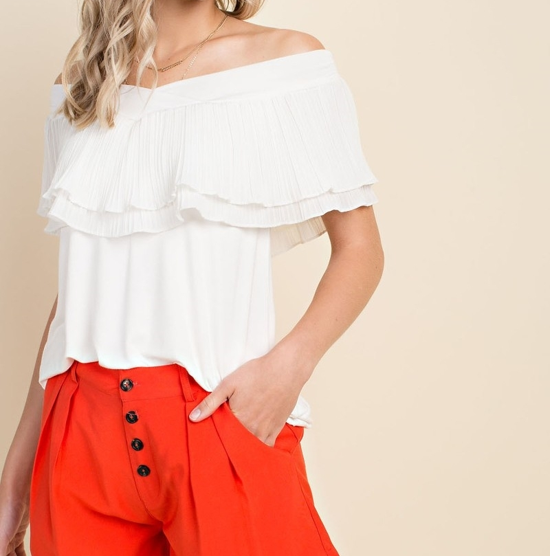 Off Shoulder Tops, Off the Shoulder Tops, Off the Shoulder Ruffle Top, Ivory