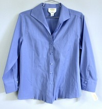 Talbots Womens 6 Solid Blue 3/4 Sleeve Tailored Blouse NWT $68 Stretch P... - $17.35